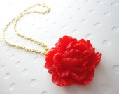 Ava, Pretty Red Peony Necklace, Flower Necklace