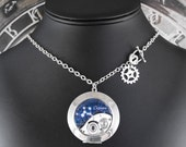 Steampunk Cassiopeia Constellation Locket Necklace - Marvelling At Cassiopeia's Crown by COGnitive Creations