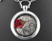 Because She Is My Rose Deluxe Artful Hardware Pendant Under Glass