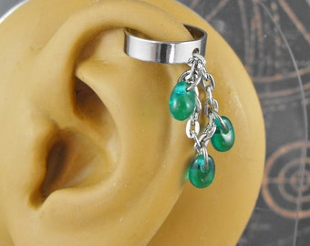 Emerald Green Silver Ear Cuff - Green Tears of Envy by COGnitive Creations