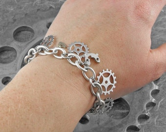 FEATURED in ACF MAGAZINE Steampunk Gears Silver Chain Bracelet - Mechanical Uproar by COGnitive Creations