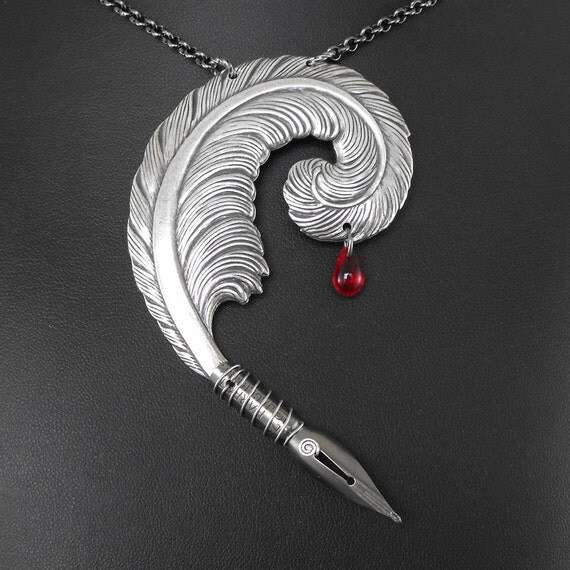 RESERVED for Katerina24K Bloody Writer Silver Necklace - The Striving Writer's Quill by COGnitive Creations