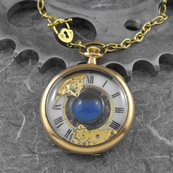 INSTALLMENTS RESERVED for PITSYCAMILLE Golden Blue Pocket Watch Necklace - Unlocking the Steamy Blue Depths of Time by COGnitive Creations