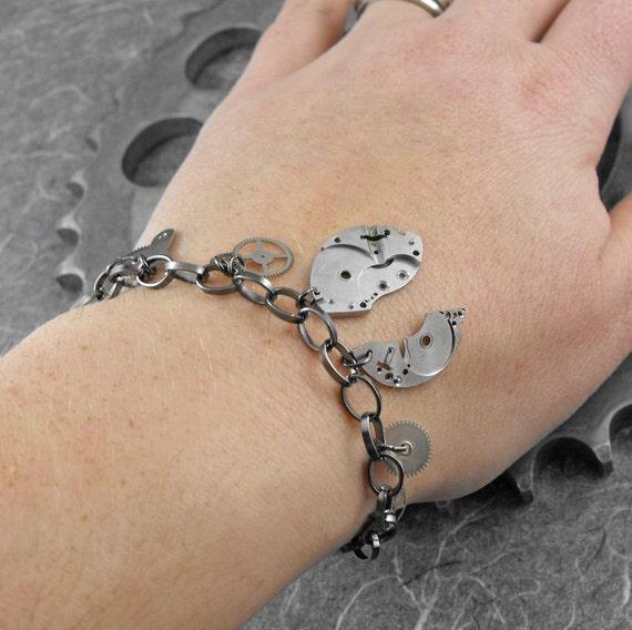 Steampunk Gears Gunmetal Chain Bracelet - Mechanical Uproar by COGnitive Creations