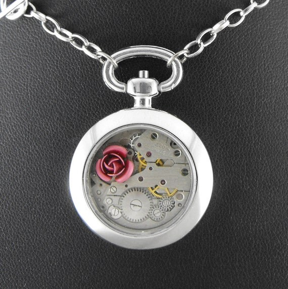 Steampunk Rose Pocket Watch Necklace - Deluxe Because She Is My Rose Under Glass by COGnitive Creations