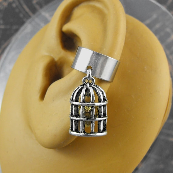 Steampunk Caged Heart Silver or Golden Ear Cuff - My Heart Longs for Freedom by COGnitive Creations