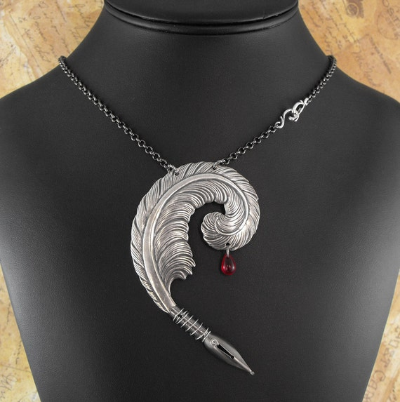 Bloody Writer Silver Necklace - The Striving Writer's Quill by COGnitive Creations
