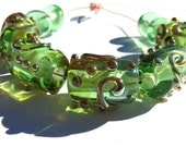 5 Fancy Light Emerald Green Lampwork Glass Tube Beads & 4 spacers-SRA