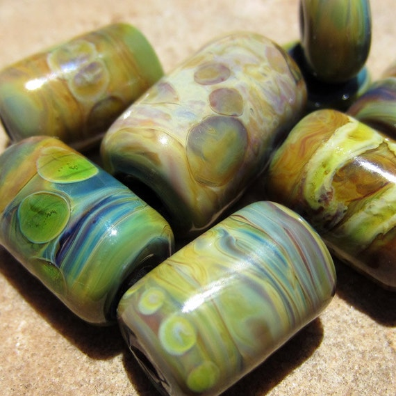 Lampwork Glass Tube Beads Blue Green Purple Bronze free shipping combined order SRA S/10