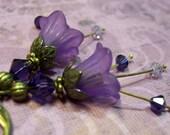 Deep Purple Romantic Bellflower Earrings - Swarovski Crystals
