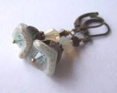 Sand & Surf Glass Flower Swarovski Crystal Earrings
