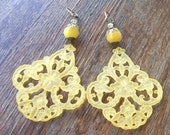 Large yellow  Floral Chandelier Earrings with Swarovski Crystals