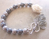 Romantic Ivory Flower Bracelet with Silver Pearls