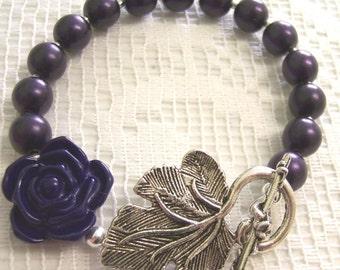 Dark Purple Romantic Ivory Flower Bracelet