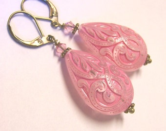 Vintage Style Pink Teardrop Brass Earrings with Swarovski crystals