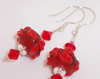 Red Lampwork Swarovski Earrings Sterling Silver