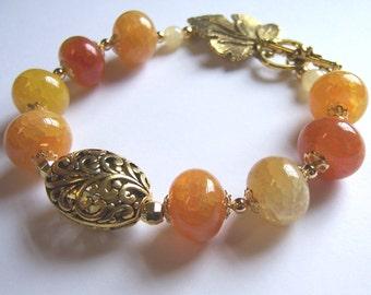 Golden Sunset Fire Agate Chunky Bracelet