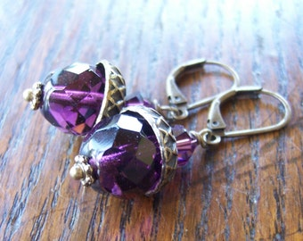 Amethyst Purple Acorn Earrings Bronze or Gold or Silver