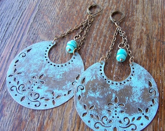 Boho Turquoise Crescent Moon Brass Earrings