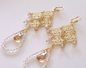 Serious Glitz and Glamour Long Gold Earrings