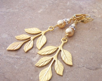 Gold Leaf Earrings with Swarovski Pearls and Crystals