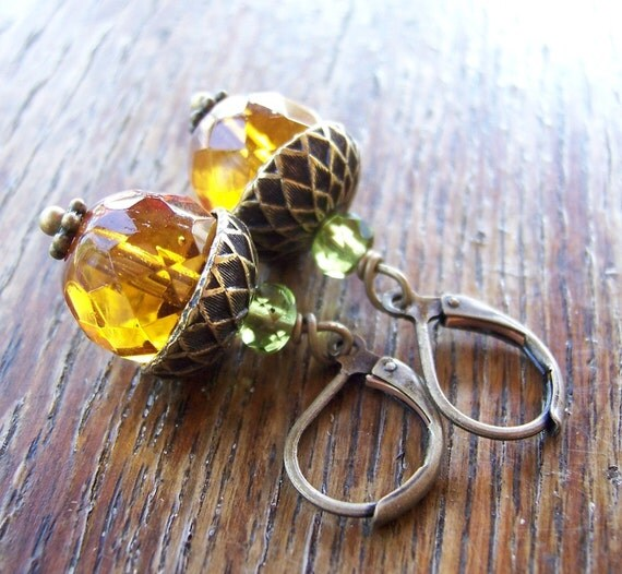 Acorn Earrings Bronze or Gold or Silver
