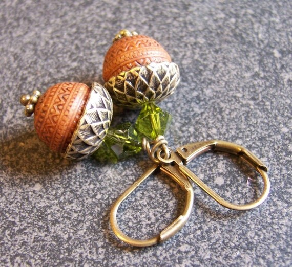 Acorn Earrings Carved