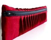 wavy pleats - small clutch - red raspberry