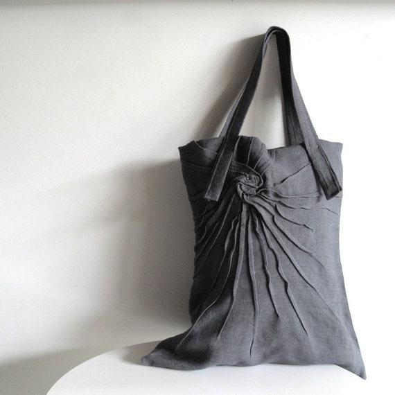 SUPER SALE - Mum tote - grey tote bag - pleated tote