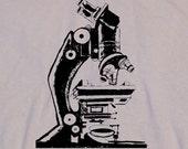 Old School Microscope Science Geek Men's Khaki Tan T-Shirt in S, M, L, XL, XXL