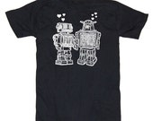 Robots In Love Funny Men's Black T-Shirt Available in S, M, L, XL, XXL
