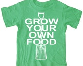 NEW - Grow Your Own Food Gardening Kid's T-Shirt Boy's Kelly Green Tee Baby, Toddler or Youth
