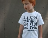 NEW - All Good Things Are Wild And Free Nerdy Book Worm T-Shirt