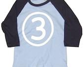 Boys Third Birthday T-Shirt (3rd birthday) long sleeve raglan American Apparel