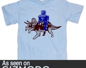 Robot and Triceratops Funny Science Geek Dinosaur Light Blue T-Shirt in S, M, L, XL, XXL