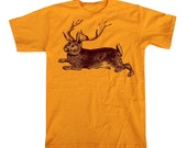 Mens Gold JACKALOPE Shirt Wild Mythical Woodland Creature T-Shirt
