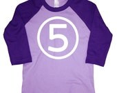 Fifth Birthday Happy 5th Number Five Long Sleeve Girls Lavender and Purple American Apparel Raglan T-Shirt