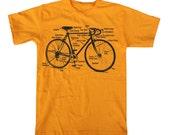 BIKE SHIRT - Retro Bike Diagram Bicycle T Shirt MENS unisex  (gold) s m l xl xxl