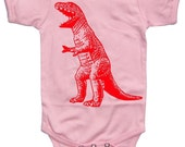 NEW - Roaring Red Dinosaur Light Pink Baby Girl Bodysuit