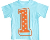 1st Birthday t shirt - Superstar Boys First Birthday Shirt (turquoise blue and orange)