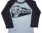 Kids TRAIN Tshirt american apparel raglan long sleeve boys shirt  (blue)