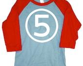 Kids FIFTH BIRTHDAY Light Blue + Red Raglan T-shirt