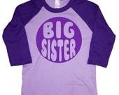 Kids BIG SISTER Raglan T-shirt - Lavender + Purple