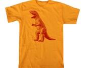 Mens Retro DINOSAUR Tshirt (gold) S M L XL XXL