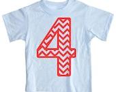 Kids CHEVRON STRIPE Fourth Birthday T-shirt - Light Blue