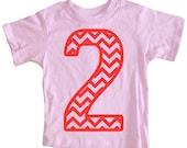 Kids CHEVRON STRIPE Second Birthday T-shirt - Light Pink
