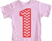Kids CHEVRON STRIPED First Birthday T-shirt