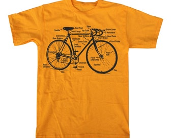 BIKE SHIRT - Retro Bike Diagram Bicycle T Shirt MENS unisex  (gold) s m l xl xxl