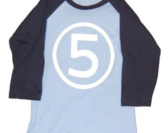 Fifth Birthday Number 5 Happy 5th Long Sleeve Boy Light Blue and Navy Raglan Party T-Shirt