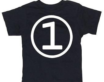 Kids CIRCLE First Birthday T-shirt - Black